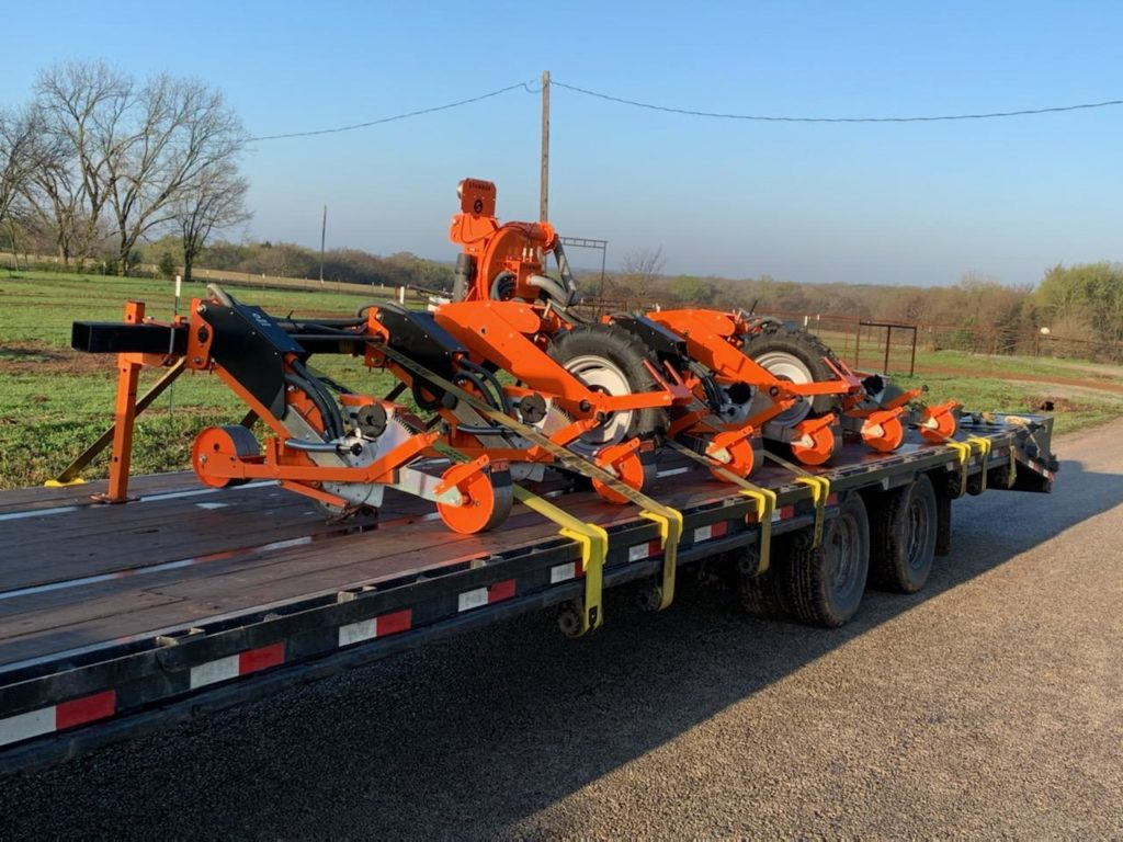 Shipping a planter on a flatbed trailer