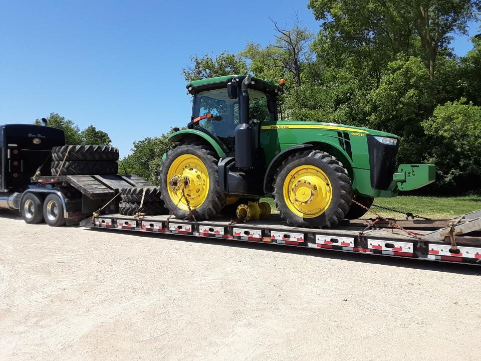 John Deere Tractor on a Trailer