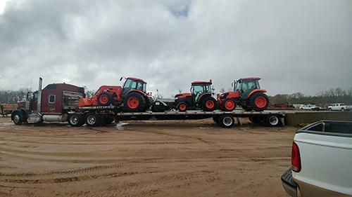 Hauling Three Kubota Tractors