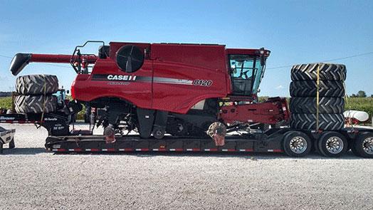 Hauling a CaseIH 8120 combine