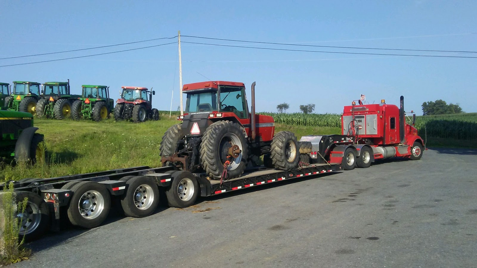 Case IH 1720 Tractor being transported